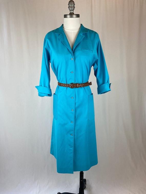 Vintage 1990s 1980s Long Sleeve Blue Button Coat D