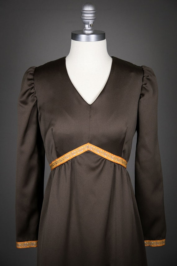 Vintage 1970s Long Sleeve Brown Evening Dress