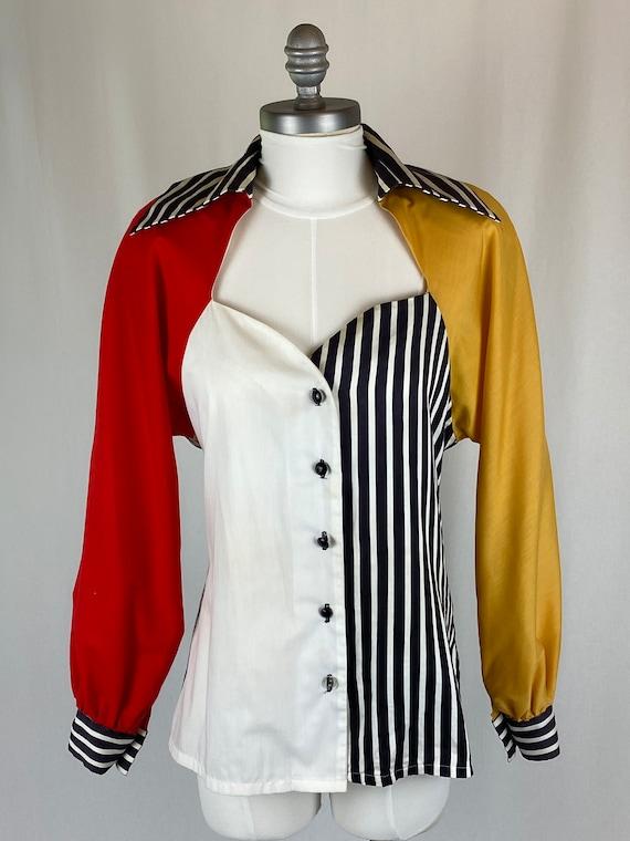 Vintage Original 1990s 1980s Color Block Blouse