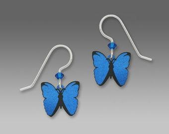 Blue Morpho Butterfly Drop Earrings