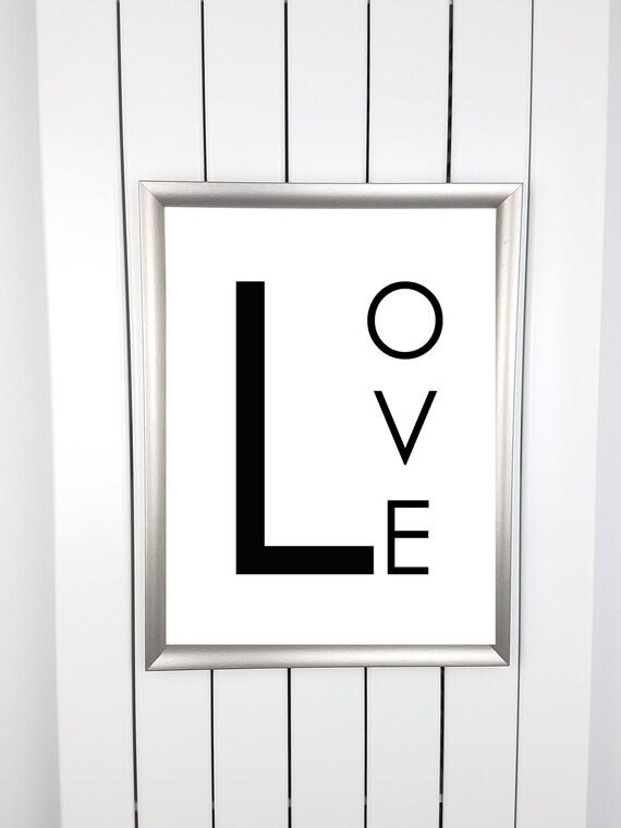 Black white Love words Love letter print poster picture | Etsy