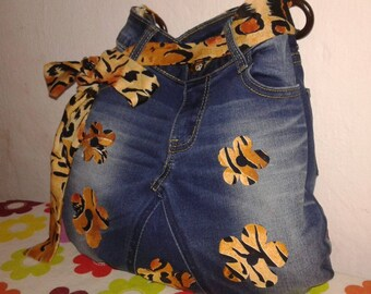 Jeans bag with floral textile listings