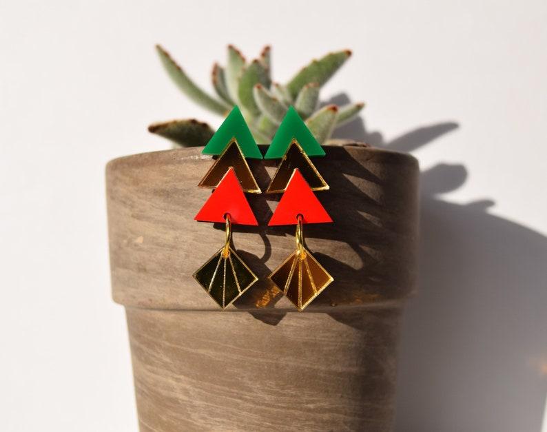 Art Deco Earrings Gift for her Dangle Earrings Statement Earrings Holiday Earrings RedGreen Abstract Earrings Geometric Tree Earrings