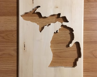 Michigan sign, natural wood sign, home decor, great gift, scroll saw art