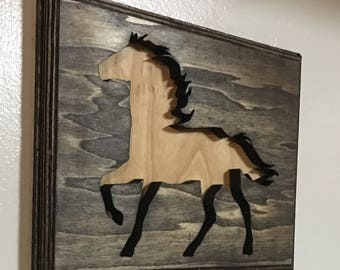 Horse sign, wood sign, scroll saw art, home decor, 9x12