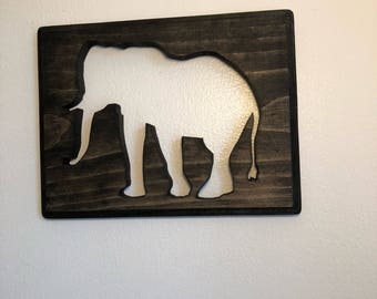 Elephant sign, great gift, scroll saw art