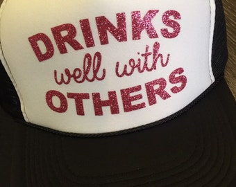 321572c5d7b Drinks well with others hat-trucker hat-pool hat-summer hat-funny trucker  hat
