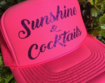 c292540220e Sunshine and cocktails hat-trucker hat-pool trucker hat-river trucker hat-lake  trucker hat-beach trucker hat-vacation hat