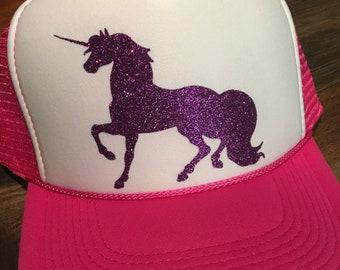 Unicorns-Unicorn Trucker hat-Kids birthday-Unicorn Party-Party  favors-Glitter trucker hat 31423ee4060c