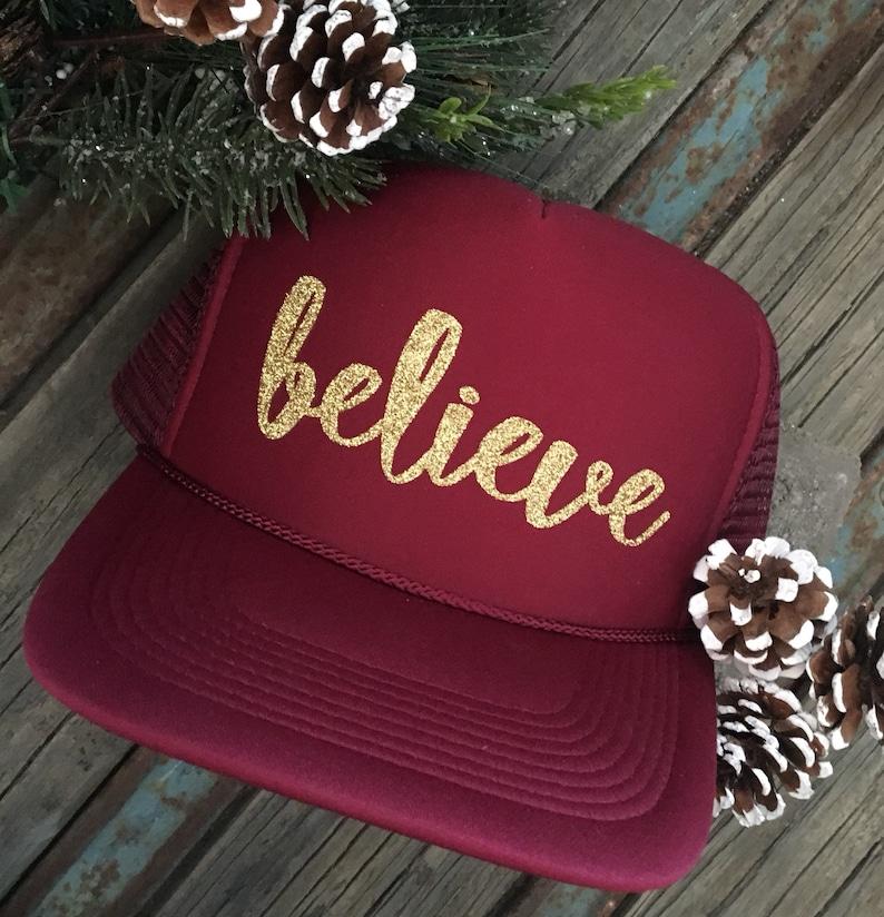 1ddc62b58d8 Believe trucker hat-Christmas trucker hat-glitter trucker hat