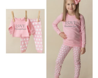 Pink Heart Doll & Me PJ Sets, Choose Design, Matching Pajamas for Girl and Dollie / Fitted Long Sleeve PJ's