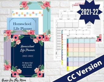 2021-22 CC Homeschool Life Planner - Printable Calendar Dated Weekly/Monthly for Classical Conversations Families - Digital PDF Downloads