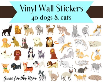Reusable Stickers - Pets: Dogs and Cats - Vinyl Wall Stickers - Kids, Nursery, or Reward Stickers
