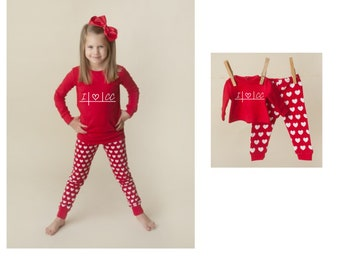 Red Heart Doll & Me PJ Sets, Choose Design, Matching Pajamas for Girl and Dollie / Fitted Long Sleeve Christmas PJ's