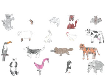 24 Animal Wall Stickers - Decorative, Removable Vinyl Decals