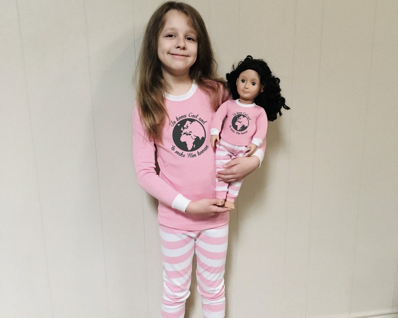 Pink Matching Pajamas for Girl and Dolly  Fitted PJ/'s Doll /& Me PJ Sets Choose Design
