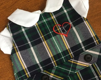 Doll Dress, Plaid with Embroidered Heart for 18 inch American Girl-Sized Doll, Plaid #1B