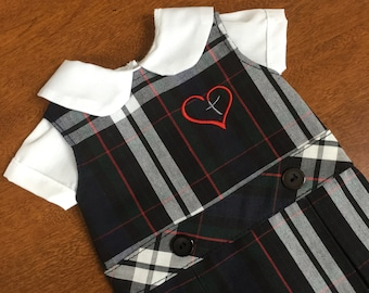 Doll Dress, Plaid with Heart and Cross for 18 inch American Girl-Sized Doll, Plaid No. 60