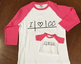 Hot Pink Doll & Me Raglan 3/4 Sleeve Matching Shirt Set for girl and doll - choose design and size (youth OR adult)