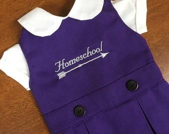 Doll Dress with Homeschool Arrow for 18 inch American Girl-Sized Doll, purple