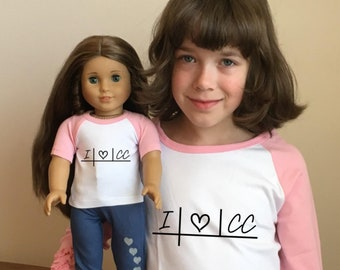 Pink Doll & Me Raglan 3/4 Sleeve Matching Shirt Set for girl and doll - Choose youth size and design