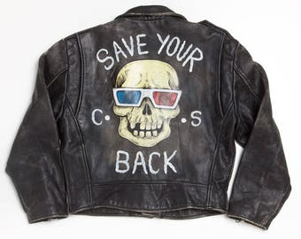 Save your back vintage hand painted leather jacket