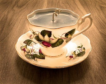 Teacup Candle - Vintage Queen Anne China Cup with Fuchsia design and Mediterranean Fig Scented Soy Wax Candle