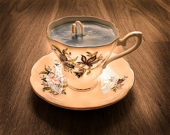 Teacup Candle - Vintage Royal Grafton China Cup with Floral Design and Mediterranean Fig Scented Soy Wax Candle