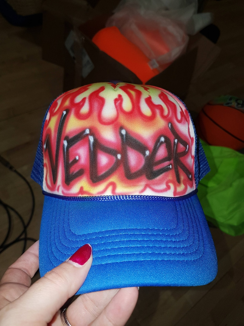 Bar Mitzvah Giveaway Party Giveaways Fireman gift Flames Fire Custom Airbrush Trucker cap Party Favor Hat Personalized hat Hot stuff