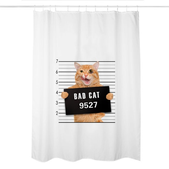 Funny Naughty Cat Decor - Bad Cat Bathroom Shower Curtain