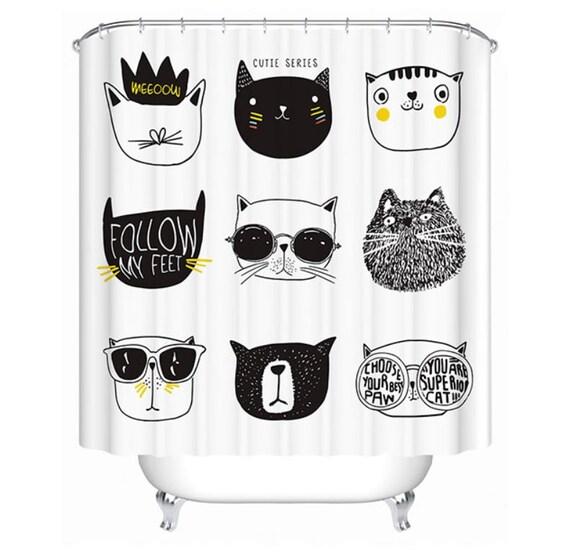 Cat Home Decor - 6 Sizes Cool Design Cat Shower Curtain Bathroom Decor