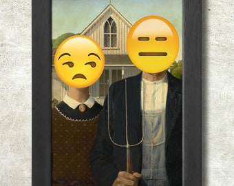 American Gothic print + 3 for 2 offer! size A3+  33 x 48 cm;  13 x 19 in, Emoji Painting