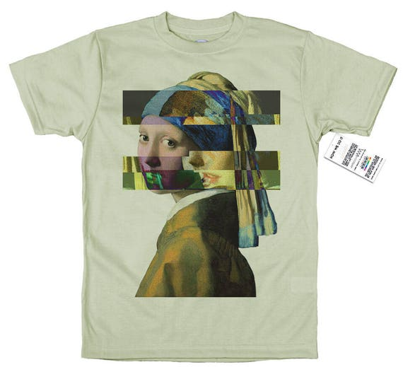 Johannes Vermeer T shirt  Glitch Design Girl with a Pearl Earring