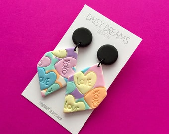 Candy Heart earrings / Diamond shaped dangle earrings /colourful polymer clay earrings/ Pastel heart dangle earrings