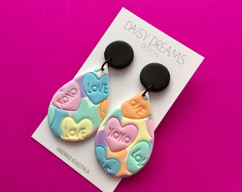 Candy Hearts teardrop dangle earrings /colourful polymer clay earrings / pastel heart statement earrings