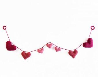 Crochet Pink Heart Amigurumi Garland