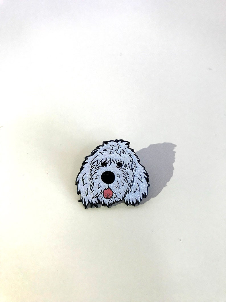 GLITTER white doodle dog soft enamel lapel pin