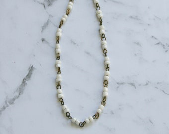 Rosary Style Glass Bead Necklace