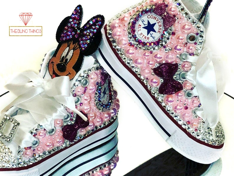 10c933da8246 Minnie Mouse Shoes   Toddler Converse   Bedazzled Sneakers