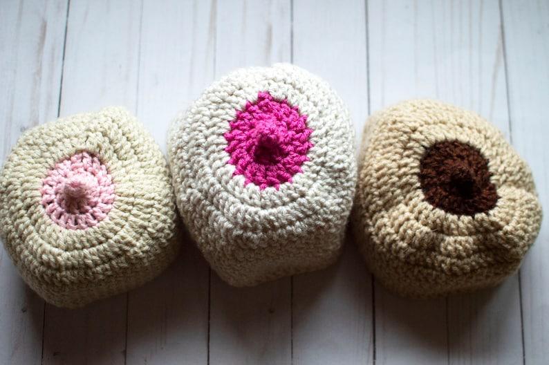 a033b0cc3a2 Crochet Boob Beanie Handmade Breastfeeding Hat Crochet