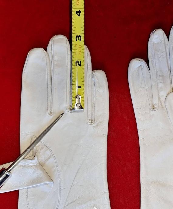 Aris Bone White Leather Gloves ~ Size 8 - image 7