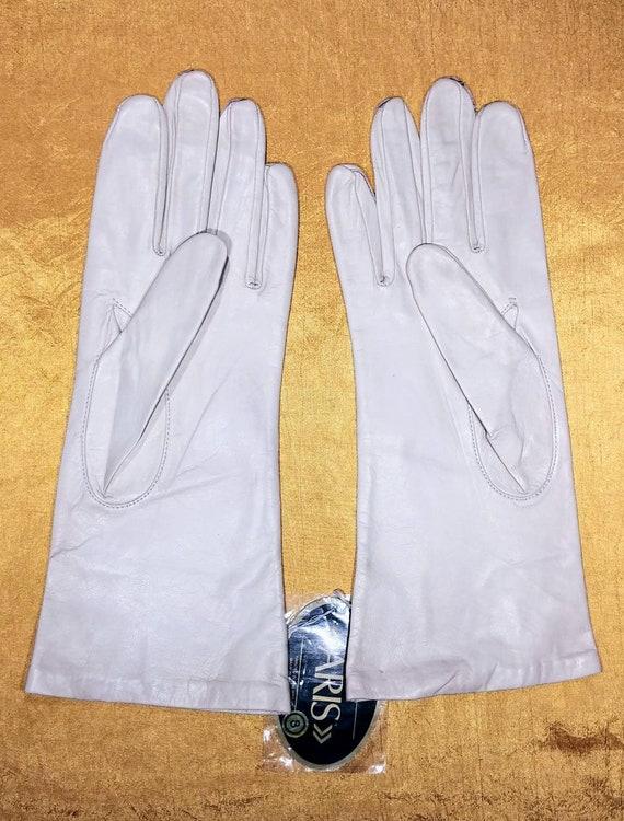 Aris Bone White Leather Gloves ~ Size 8 - image 4