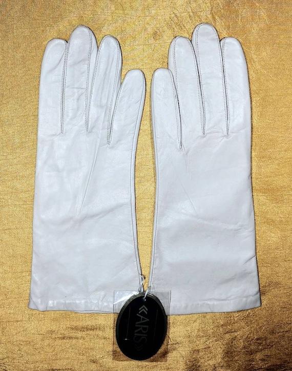 Aris Bone White Leather Gloves ~ Size 8 - image 3