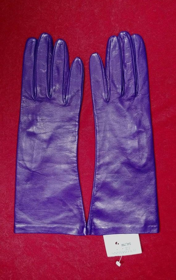 Loehmann's Shalimar Purple Leather Gloves ~ Size 8