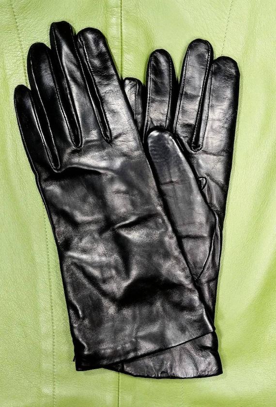 Nordstrom Black Leather Gloves ~ Size 8