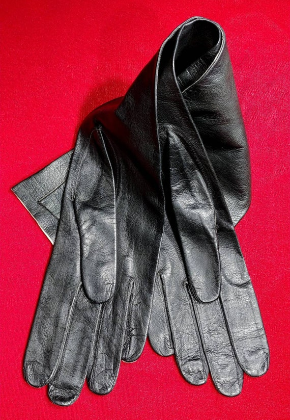 Unlined Black Kid Elbow Gloves ~ Size 8