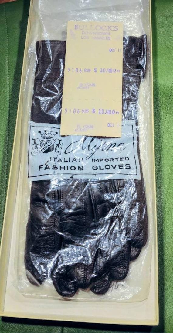 Vintage Myrna Italian Brown Kid Gloves ~ Size 8
