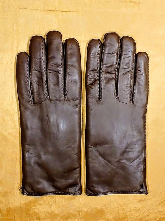 Vintage Brown Kid Leather Gloves Size 8