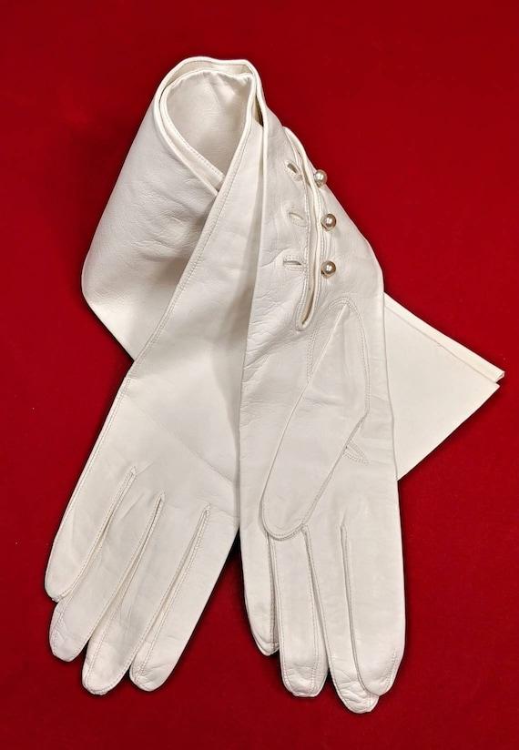 Elena White Kid Leather Opera Gloves ~ Size 8