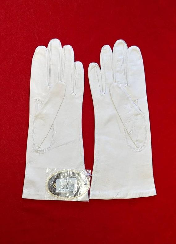 Aris Bone White Leather Gloves ~ Size 8 - image 8
